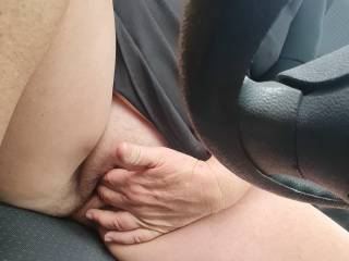 So horny.. Playing in carpark..Would you like  to walk past?