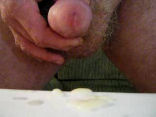 very nice cumshot....mmmm...wish it was in my mouth when you came...lots of creamy white cum...mmmmm