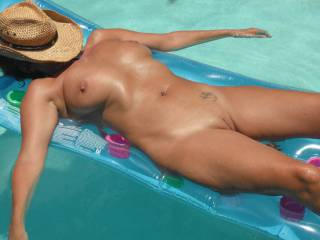 Relaxing in the swimming pool at home after a long hot session with my gorgeous Hubby.