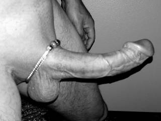 Wearing my wife's bracelet as a cock ring