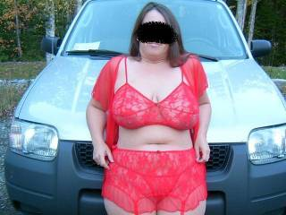 another red pantied shot for our friends request..look close and try and see that camaltoe you are looking for ;)