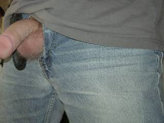 cock hanging out of my jeans