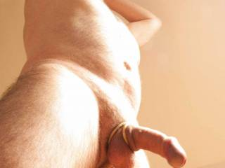 A view from below, I hope you like?  naked, male, cock ring, erection, hairy, mature, hardon