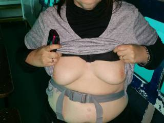 this was taken on a boat trip on Loch Alsh in Scotland.  The boat has seats and windows in the hull under water to watch the fish etc,  everyone else on the trip went up on deck so Mrs W popped her tits out for a quick photo