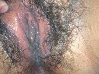 just got thru fucking and cumming inside her hairy pussy