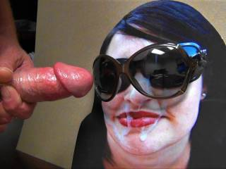 Stroking my hard cock to Kandy K's cum face while wearing my GF's sunglasses! Should I shoot my warm cumload all over her face?