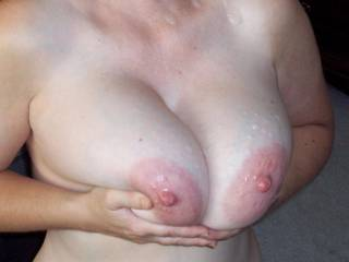 Anyone want to lick the cum off my tits