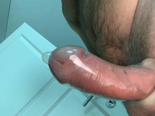 The dick pumped and the condom on, someone wanting to feel on a swollen dick, or I jerk off the dick and cum in the condom