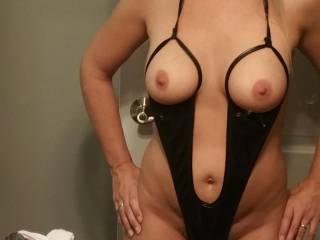 Black lingerie tit holes