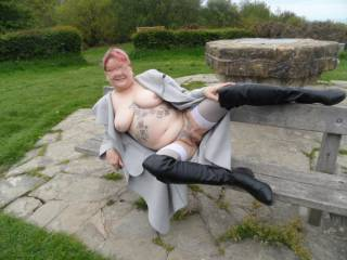 hi all  we discovered a nice private area for me to strip and show some skin. dirty comments welcome mature couple