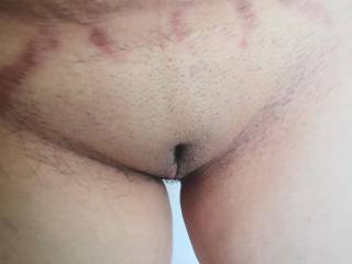 Shaved pussy.