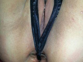 Kitties new crotchless panties holding her glass plug in place. First her pussy look so tasty