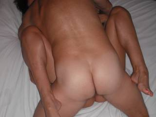 Fucked deep and hard by our swinger friend, when he came around for a threesome.