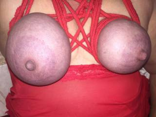 Sexy dovegush loves her tits tied. Her heavy tits tied tight just makes her feel so sexy and wet. Who wants to untie them?