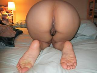 Wife agreed to show off her Asian butt a little bit for the camera :)