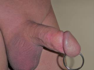 Playing around with my ring deep in my urethra. Still working my way up to getting my Prince Albert piercing.