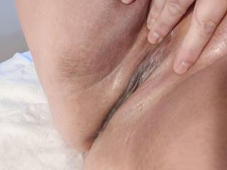 Playing with my wet pussy after it had been fucked