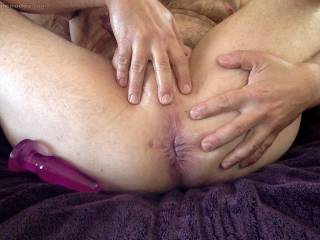 Oiled up and spread open
