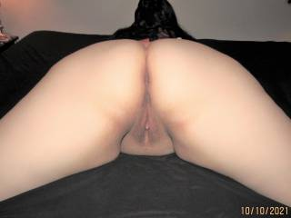 My wife showing off her beautiful fat ass and pussy from behind. How\'s the view back there?