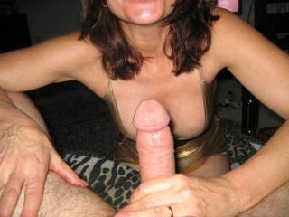 Your hot wife would be so delicious for us...I would have her get naked and suck my husband cock while I use one of my dildos on her hot pussy.  Mmmm, that cock is so delicious.  K & G