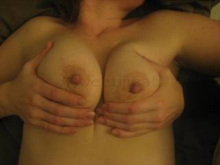 I think they are lovely and I think after fucking you from behind I would like to flip you over and spurt my creamy load over these lovely tits