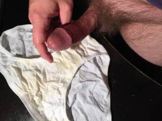 1 of 7 jizz shots for this white cotton panty! This was my first panty exchange... what is it about a woman's panties that gets us so turned on?