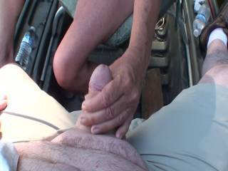 Out in the boat on a small lake and getting a great hand job from my girlfriend. What do you think of her tits?  Want to see the second part where she makes me cum?