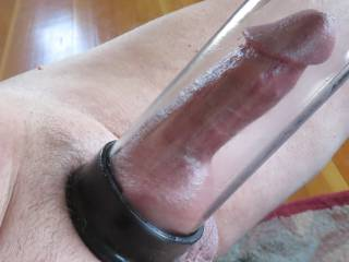 still really like my new cock pump.....  gets me going. one ball being sucked in.