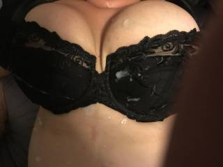 Anyone want to add more cum on my wife's tits!?