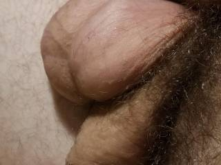 Couldn't help but to get a nice shot of my glistening balls while they hung over my soft cock, spent from a day of vigorous fapping
