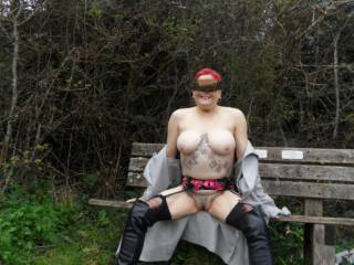 hi all just taking a moment to sit and relax on the bench, I do hope no one wanders by. dirty comments welcome mature couple