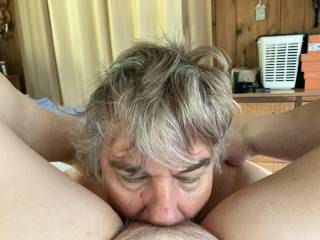 She wanted me to suck her toes in the morning which always leads to eating her delicious pussy. This time, however, she took my phone and took a picture of ME in action. Another step forward in sex play since she never did that before.