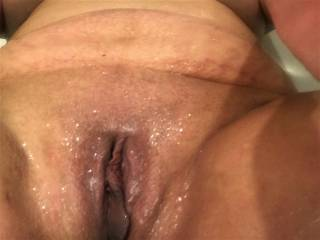 This is a pic I took after Melissa had another cum explosion out of her pussy.  She is by far the wettest woman I\'ve ever been with....