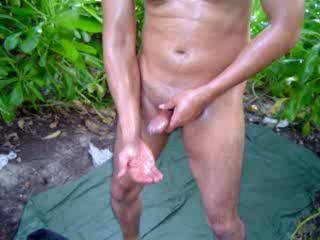 love the outdoors..great looking dick and good hand action till you shoot that hugh load of man milk..then use the cum as lube to stroke some more..great action.