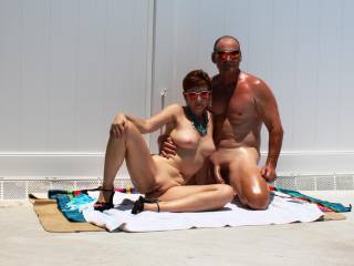 """What a great looking couple!  I love the curve in his cock!  My man loves the position she's in, her leg lifted up like that.  He says it's """"so fucking hot"""".  I agree!  Thank you."""