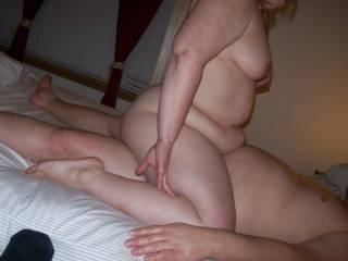 Lupo\'s wife riding my cock as her cuckold hubby Lupo watched and took pics. He sits in the corner fully clothed and watches his wife fuck,suck and make me cum in her pussy.