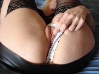 just a peek of hot shaved milf pussy...