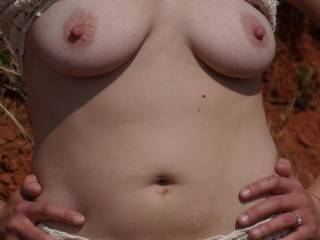 Lovely nipples, was it cold that day or were you just excited to show off?