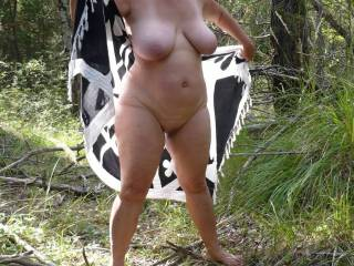 I would love top suck your fantastic tits and the neat your very beautiful pussy in the forest