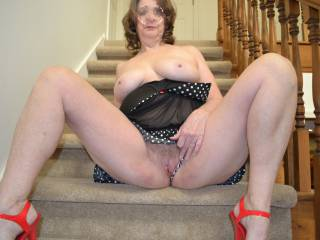 God, you are absolutely delicious... So curvy, ripe and voluptuous! I want to have you spread your legs like that so I can tongue your delicious pussy then lie back so I can give you a big cock fucking on the stairs xx