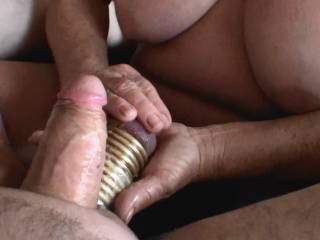 Fourth of 5 pictures showing me giving boyfriend a hand job and him cumming. Notice the 11 rings on his balls, now that is a handful of balls and steel. He wants to fuck me with those steel balls, should I let him? Would you watch that video?
