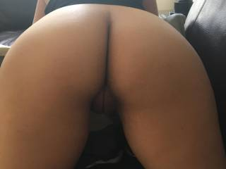 My sexy gf bent over the couch waiting for my cock