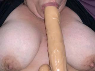I Love a Nice Big Cock in my mouth while I'm getting Pounded, who can replace my toy with a Live Cannon ?