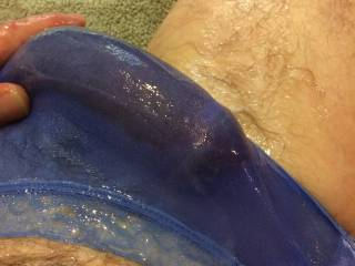 These wet panties feel so damn good! I can't stop rubbing my fat cock through them. Need to pull this throbbing menace out soon.