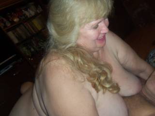 grandma is happy that she saddled my cock, you can see it on her face