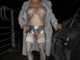 hi all we are back to our late night drives, it was a little chilly but it made my nipples stand out well. dirty comments welcome mature couple