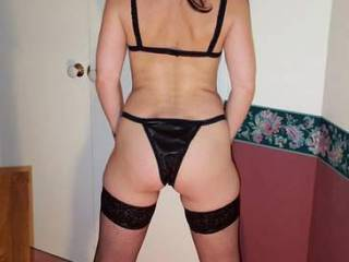 """My """"BLACK"""" lingerie from """"BEHIND""""!...  Do you like the """"VIEW""""?...  hehehe"""