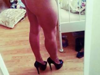 Your ass is perfect and those legs look so strong sleek and sexy on top of those heels, You have my cock hard as steel and begging to be let free of my pants..
