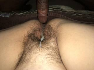 Came on her hairy pussy then but it back in to finish cumming