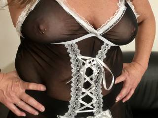 I thought I'd spice things up for Hubby a bit when I clean around the house. Help me decide which outfit to wear